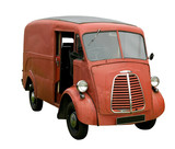 Old delivery van, isolated. With clipping path. poster