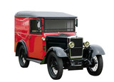 Vintage red delivery van, isolated. With clipping path. poster