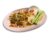Som tam, spicy papaya salad from Thailand isolated on white poster