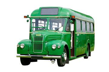 Vintage green bus, isolated. With detailed clipping path.