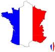 Carte de France avec couleurs du drapeau