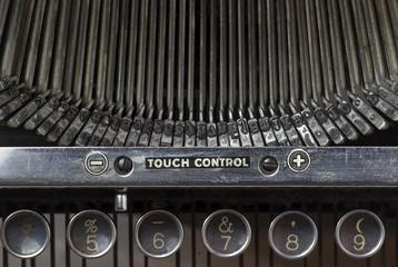 Old typewriter, closeup of keys