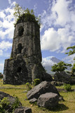 colonial church destroyed by mayon volcano poster
