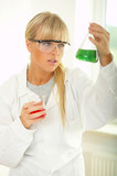 Female lab worker testing and experimenting poster
