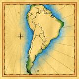 Antique map of South America (rendered) poster