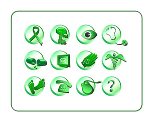 Medical & Pharmacy Icon Set, Green. Digital illustration.