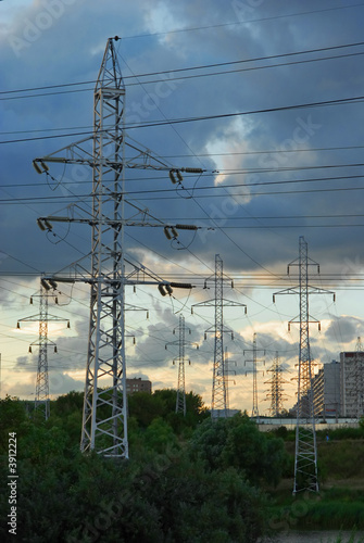 Power lines on a city background
