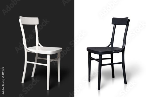 Black and white chairs