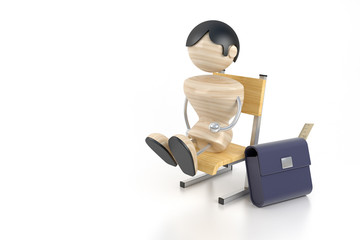 A little boy sits on a chair at school. 3d model