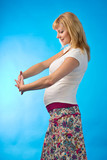 shining happy pregnant woman poster