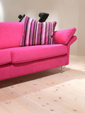A pink sofa with a striped pillow on a pine wood floor poster