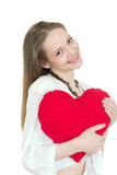 Girl holding a pillow in shape of heart poster