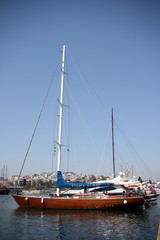 luxurius wooden sailing yacht at marina