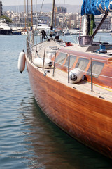 detail from luxurius wooden sailing yacht at marina