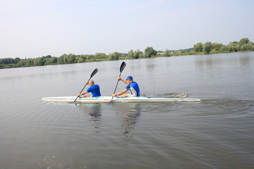 Two man in canoe