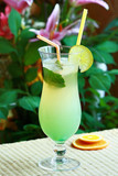 Summer alcoholic recreational drink with cherry and lemon poster