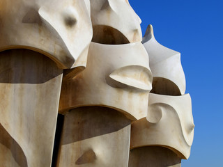 Chimnies on the roof of Gaudi's La Pedrera in Barcelona, Spain