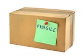 fragile cardboard box against white background poster