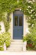 porte, fleur, escalier