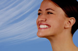 Nice image of woman smiling in the sunshine poster