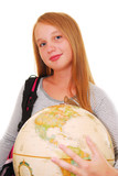 girl with backpack and globe isolated on white background poster