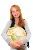 school girl with backpack and globe isolated on white background poster