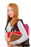 school girl with backpack and books isolated on white background poster