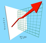 3d graph showing profits shooting up poster