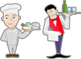vector waiter and chef. poster