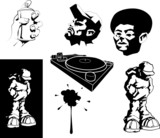 vector urban motifs/ stencils. poster