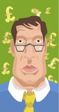 business man with dollars or pounds (in layers) poster