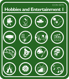 Hobbies and entertainment icons poster