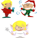 Elves and pixies having holiday fun poster