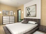Fototapety Modern interior. 3D render. Bedroom. Exclusive design.