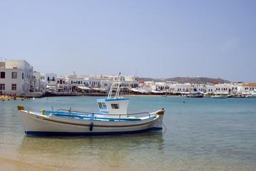 greek island harbor with fishing boat mykonos