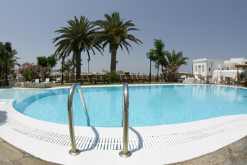 luxury hotel swimming pool greek islands architecture