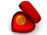 Box as heart with  a globe