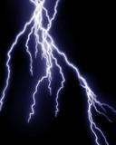 Blue lightning flash on black sky poster