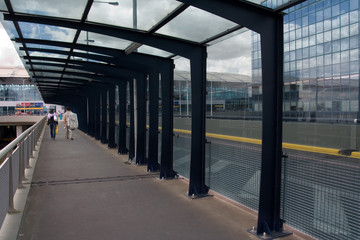 Pedestrian passage with people crossing by