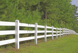 A decorative white split rail fence. poster