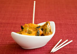 mussel with seafood sauce on white little bowl poster