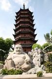 Smiling buddha statue before pagoda in Suzhou China poster