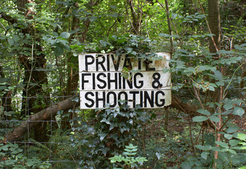 Private Fishing & Shooting signpost