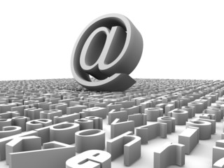 symbol for internet on background from letters
