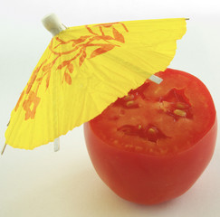 tomato under umbrella