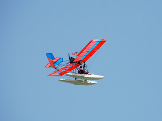 Ultralight airplane in flight