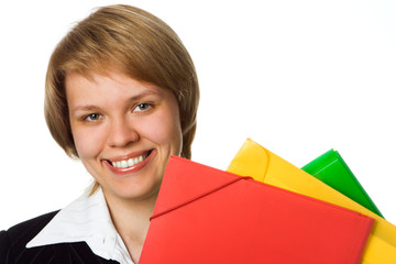 businesswoman with folder fo rdocument