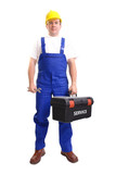 Serviceman with toolbox and spanner poster