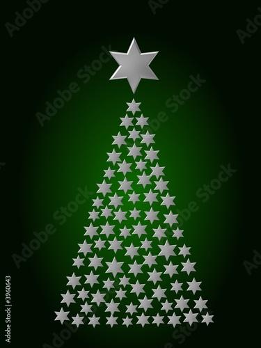 Weihnachtsbaum-Sterne-Silber-Grün