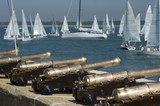 Cannons and sail boats poster